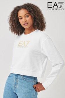 Emporio Armani EA7 White Cropped Sweatshirt