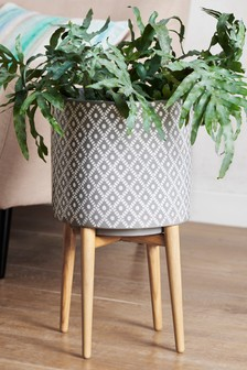 Grey Geometric Plant Pot On Stand