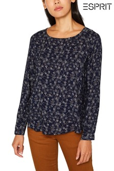Esprit Blue Printed Blouse Top