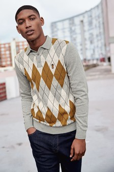 Argyle Pattern Polo