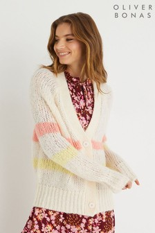 Oliver Bonas White Blossom Yarn Stripe Knitted Cardigan