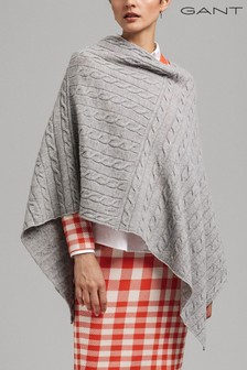 GANT Grey Lambswool Cable Poncho