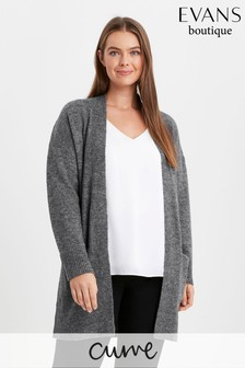 Evans Grey Curve Knitted Cardigan