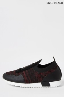 River Island Red Knit Cone Strap Runner Trainers