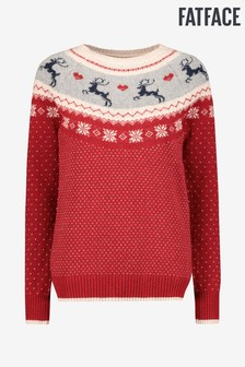 FatFace Red Reindeer Fairisle Pattern Jumper