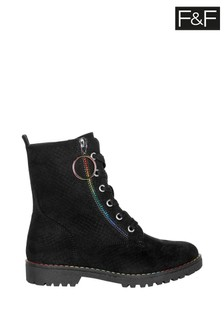 F&F Black Rainbow Zip Work Boots