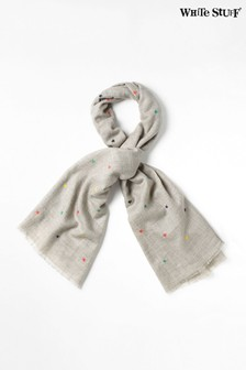 White Stuff Grey Star Embroidery Midweight Scarf