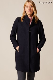 Phase Eight Blue Bailie Boiled Wool Coat