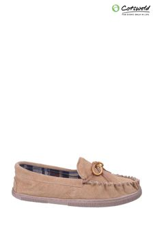 Cotswold Cream Alberta Slip-On Moccasin Slippers