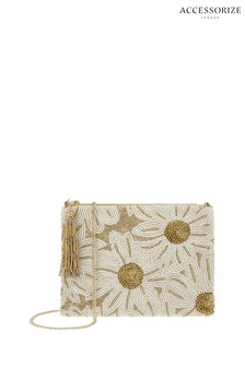 Accessorize Gold Daisy Embellished Zip Top