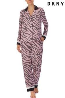 DKNY Pink Satin Long Sleeve Notch Collar Top And Pant Set