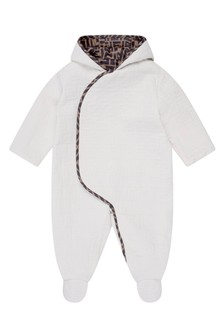 Baby Beige Cotton FF Logo All-In-One