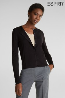 Esprit Womens Black Long Sleeved Button Cardigan