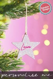 Personalised Glitter Star Bauble by Oakdene
