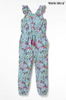 White Stuff Green Kids Parrots Jersey Jumpsuit