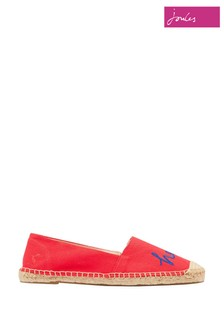 Joules Red Shelbury Embroidered Canvas Espadrilles