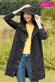 Joules Black Waybridge Waterproof Raincoat With Mesh Lining