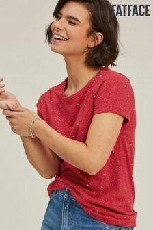 FatFace Red Eden Speckled Spot T-Shirt