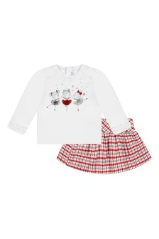 Baby Girls White/Red Skirt Set