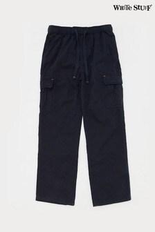 White Stuff Navy Kids Niko Cotton Cargo Trousers
