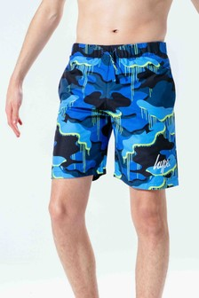 Hype. Blue Camo Drip Script Kids Swim Shorts