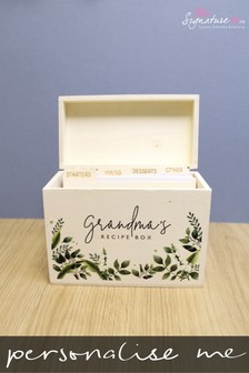 Personalised Wooden Recipe Box by Signature PG