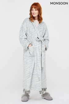 Monsoon Grey Tegan Animal Print Long Robe