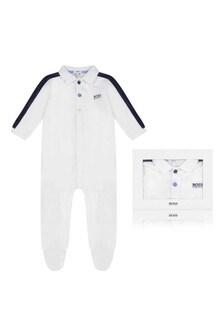 Boys White/Navy Cotton Babygrow