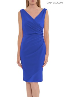 Gina Bacconi Blue Loni Soft Stretch Crepe And Satin Dress
