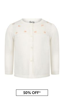Bonpoint Baby Girls Cream Cotton Cardigan