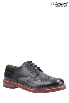 Cotswold Black Quenington Leather Goodyear Welt Lace Up Shoes