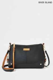 River Island Black Buckle Side Cross Body Bag