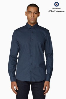 Ben Sherman Blue Long Sleeve Mini Motif Shirt