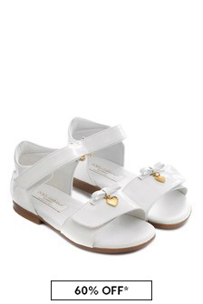 Dolce & Gabbana Kids Girls White Patent Leather Sandals