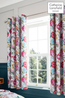 Salisbury Bright Floral Black Out Eyelet Curtains by Catherine Lansfield