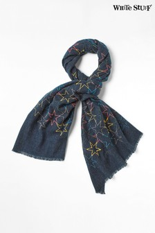 White Stuff Blue Linear Stars Midweight Scarf