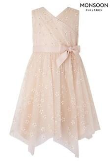 Monsoon Pink Snowdrop Hanky Hem Dress