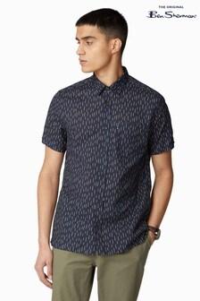 Ben Sherman® Navy Short Sleeve Linen Mix Striped Shirt