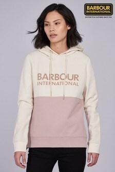 Barbour® International Rose Pink Cream Panel Logo Goodwood Hoody