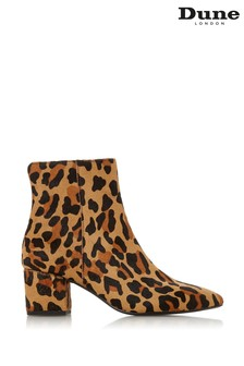 Dune London Leopard Print Leather Heel Pointed Ankle Boots