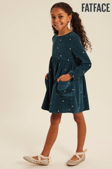 FatFace Green Embroidered Star Cord Dress