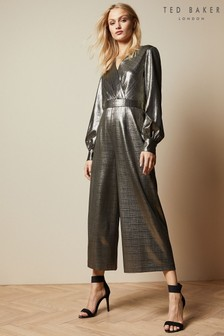Ted Baker Gold Twigga Metallic Wrap Jumpsuit