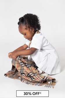 Kids Beige Vintage Check Wool Scarf