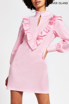 River Island Pink Light Frill High Neck Mini Dress