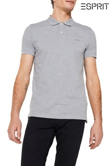 Esprit Grey Basic Pique Poloshirt