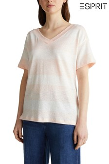 Esprit Orange Light Stripe Back Detail T-Shirt