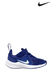 Nike Run Grey/Blue Downshifter 10 Junior Trainer