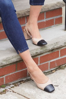 Toe Cap Block Heel Slingbacks