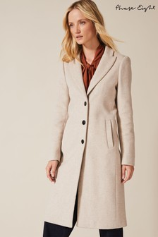 Phase Eight Neutral Samantha Single Breasted Coat