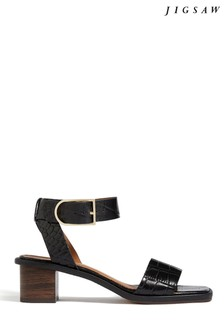 Jigsaw Black Laia Buckle Heel Sandals